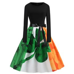 China St. Patrick's Day Vintage Ireland Flag Print Casual Dress Retro Midi Party Dresses Shamrocks Costume Celtics Festival Fashion Apparel suppliers