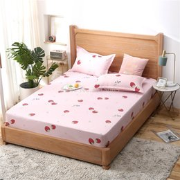 Light Pink Bedspreads Australia - 2019 Pink Strawberry Printed Fitted Sheet 1pcs Polyester Cotton Bed Sheet with Elastic Band Twin Full Queen King Size Bedspreads