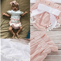 Wholesale Pink Sashes Australia - INS Newest Designer Girl's Pompon Decor Flounced Collar Top Shorts Pink and Headband 3pieces Suits Organic Cotton White Tops Ruffled Tees