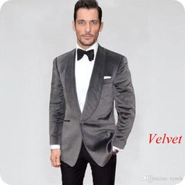 $enCountryForm.capitalKeyWord Australia - Grey Velvet Groom Tuxedos Men Suits for Wedding Smoking Jacket Shawl Lapel 2Piece Groomsmen Suit Blazer Black Pants Slim Fit Costume Homme