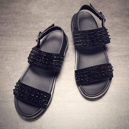 $enCountryForm.capitalKeyWord Australia - Summer Rivets Stud Men Sandals Gladiator Open Toe Buckle Strap Leather Beach Sandals Flats Black Comfortable Casual Shoes Men