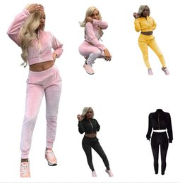 women pink velvet suits UK - Women Velvet Sweater suit and sets Casual Autumn Winter 2PCS Track Suit Casual female Trousers+Jumper Costume Clothing Set
