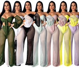 Wholesale tube top pants for sale – designer Women Beachwear Hollow Out Chest Wrap Wide leg Pants Piece Set Long Sleeve TUBE TOPS Suit Plus Size S XL Summer Sexy Swimwear