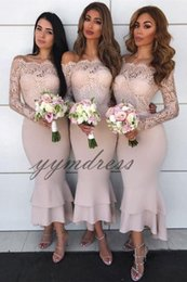 Lavender Blush Wedding Dress Australia - 2019 Blush Pink Bridesmaid Dress Sheer Long Sleeve Lace Applique Pius SizeMermaid Wedding Guest Gowns Custom Made