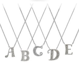 $enCountryForm.capitalKeyWord Australia - 26 letter necklace sterling silver short locking chain student pendant accessories birthday present Wholesale and Retail