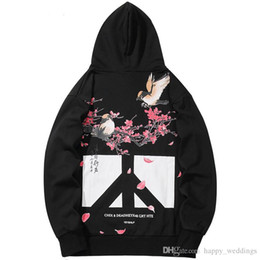 Floral pullover hoodie online shopping - Men Hip Hop Hoodies Sweatshirt Floral Bird Print Harajuku Streetwear Chinese Kanji Hoodie Pullover Autumn HipHop Oversized