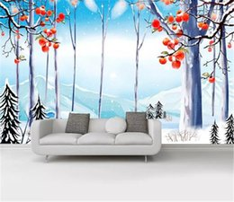 $enCountryForm.capitalKeyWord Australia - Nordic hand-painted beautiful snow forest squirrel TV background wall Home Decor Living Room Wall Covering Wallpaper