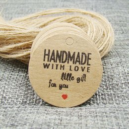 Price tags strings online shopping - 3cm round brown products price hang tag hemp string paper handmade with love gift tagging tag