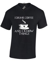 $enCountryForm.capitalKeyWord Australia - I DRINK COFFEE AND I KNOW THINGS MENS T-SHIRT GAME OF SNOW DIREWOLF JON THRONES Funny free shipping Casual tshirt