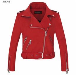 a334392c856de 2019 New Arrial Women Autumn Winter Suede Faux Leather Jackets Lady Fashion  Matte Motorcycle Coat Biker Gray Pink Beige Outwear