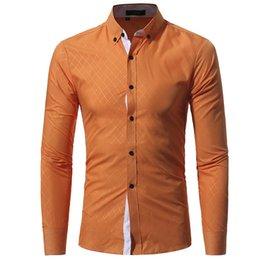 Wholesale line shirt online – design Mens Fashion Dress Shirts Long Sleeve Slim Fit Tops Classic Lines Male Dress Shirts Slim Shirts