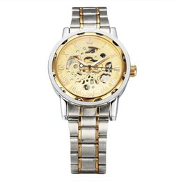 $enCountryForm.capitalKeyWord Australia - High quality Fashion New Men Classic Transparent Steampunk Skeleton Mechanical Stainless Steel Watch For Best Christma Gifts