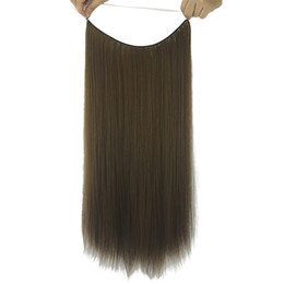 hair bangs extensions 2019 - Long Straight Gray Black Synthetic Hair Extensions Fish Line Halo Invisible Hair Heat Resistant Hairpiece 10 Colors chea