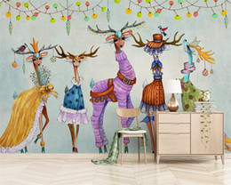 Discount paper house small - Custom Nordic modern minimalist wallpaper hand-painted small animal children room backgroundpapel de parede 3dwall paper