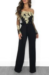 Women Jumpsuit Elegant Long Sleeve Australia - Lace Patchwork Jumpsuit Women Sexy Off Shoulder Slash Neck Long Sleeve Women Jumpsuit Elegant Slim Wide Pants