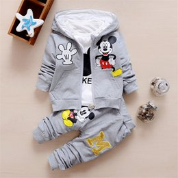 Discount mouse clothes - Children Clothes Set For Baby Boys Girls Cartoon Mouse Hooded Coat+T-shirt+Pant 3pcs For Kids Sport Suit Children