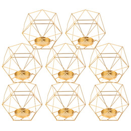 $enCountryForm.capitalKeyWord UK - Pack-8 3d Geometric Tea Light Candle Holders Stands Wedding Centerpieces Home Decor ,gold Y19062803
