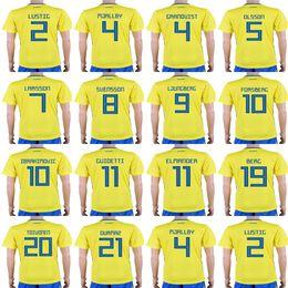 4703e33de Cheap Mens Womens Kids Custom 2018 World Cup Sweden Soccer Jerseys 4  GRANQVIST 7 LARSSON 9 BERG 10 IBRAHIMOVIC Best Quality Football Jerseys