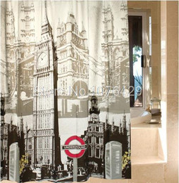 72 shower curtain UK - Shower Curtain Retro London Big Ben Pattern Bathroom Waterproof Mildewproof EVA Scrub Plastic Fabric With 72 Inch +12 Hooks