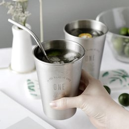 Silver Cup Mug Australia - Ins Stainless Steel Mug Womens Fruit Juice Ice Cup Kids Anti Falling Cup Home Breakfast Cup Candy Children's Cups