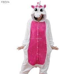 Hooded onesies costume online shopping - Onesies Unicorn Women Pajamas Sets Adult Winter Animal Pajamas Kits Flannel Costume Cosplay Pijamas Unicornio Long Sleeve