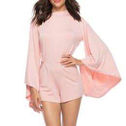 Elegant Jumpsuits Sleeves Australia - Rompers Womens Jumpsuit Jumpsuit Short Straight Solid Long Batwing Sleeve Backless Elegant Jumpsuit Combishort Femme