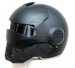 Top Motorcycle Helmets Australia - 2016 Top hot Black MASEI IRONMAN Iron Man helmet motorcycle helmet half open face casque motocross 610 SIZE:M L XL