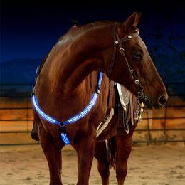 Cuir de cheval en plein air Dual LED Harnais pour chevaux Nylon Nuit Matériel d'équitation visible d'équitation de course Equitation Cheval Ceinture