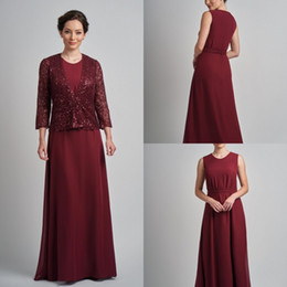 a510903b56e Burgundy Mother Of The Bride Dresses With Jacket Long Chiffon Long Sleeves  Floor Length Plus Size Wedding Guest Dress Sequins