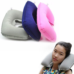 Travel Pillow For Office Australia - U Shaped Travel Pillow Inflatable Neck Pillow Car Head Rest Air Cushion for Travel Office Nap Head Rest Air Cushion Pillows