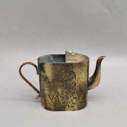 dripping art Australia - Rare Chinese brass Rong Baozhai Study supplies Hand-carved Flower and bird pattern dripping pot