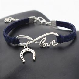 $enCountryForm.capitalKeyWord Australia - Silver Infinity Love Horseshoe Horse Hoof Pendant Bracelets for Women Men Handmade Navy Blue Leather Suede Rope Cuff Charm Fine Jewelry Gift