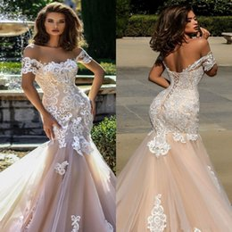 White Sexy Shorts Sheer Train Australia - Sexy Champagne Mermaid Wedding Dresses New 2019 Sheer Short Sleeves Tulle Lace Appliques Corset Backless Bridal Dress Wedding Gowns