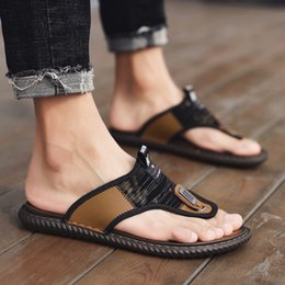 korean leather slippers Canada - Summer Men Flip Flops Men Korean-style Casual Soft-Sole Anti-slip Outdoor Wear Beach Shoes Slippers Genuine Leather