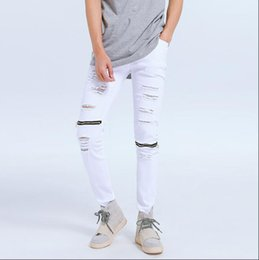 White Stretch Pants Australia - 28-44 2019 Europe and the United States tide boy hip hop hole hole denim pants men's fashion Slim stretch JEANS white