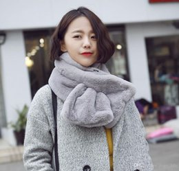 Wholesale Top Grade Fashion Autumn Winter Scarf Imitation Rabbit Hair Neck Warmer Pure Color Soft for Ladies Girl