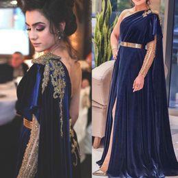 Black velvet evening dress prom online shopping - Dark Blue Royal Prom Dresses Noble Golden Sequins Crystals A Line Velvet Arabic Formal Evening Gown High Split One Shoulder AL3174