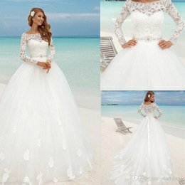 Beach Wedding Dress Sashes Australia - Beautiful Beach Long Sleeve Ball Gown Wedding Dresses Boat Neck Lace Floral Fitted Beaded Sash Summer Bridal Cheap arabic Bohemian Country