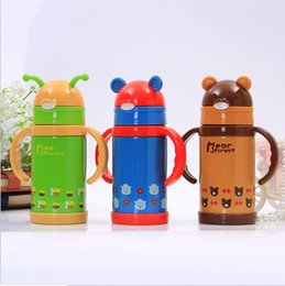 Insulated Drinking Tumblers Australia - 280ml Kids Water Bottle Sippy Cups Double Walled Vacuum Insulated Stainless Steel Tumblers Travel Mugs Cute Cartoon Flask free shipping