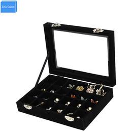 Black Wood Box Australia - 2017 Black Red Wood Velvet 24 Slots Women Jewelry Watch Accessories Collect Desk Case Makeup Collect Box Case Home Storage Box
