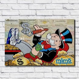 abstract oil prints Australia - Alec Monopoly Handpainted & HD Print Modern Abstract Graffiti Art Oil Painting On Canvas Wall Art Home Office Deco High Quality g157 vA.