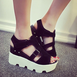 muffin sandals NZ - slope fish mouth high-heeled waterproof platform thick bottom muffin 2019 women shoes summer sandals