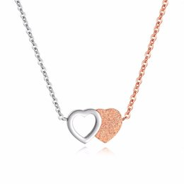 double heart love pendant NZ - Stainless Steel Double Heart Necklace with Scrub Love Heart Anniversary Gift Jewelry for Women, Wife, Mom, Her