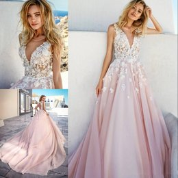 $enCountryForm.capitalKeyWord Australia - Eva Lendel 2019 Beach Wedding Dresses Blush Pink Tulle And Ivory Lace 3D Floral Applique Long Train Illusion Jewel Sexy Keyhole Bridal Gowns