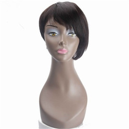 Chinese  Real Hair Wig Human Hair Wig No lace Wig Black Pixie Cut Short Bob Straight manufacturers