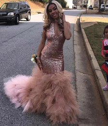 Wholesale 2019 sexy African Black Girls Sequined Prom Dress Rose Gold Formal Pageant Holidays Wear Graduation Evening Party Gown Custom Made Plus Size