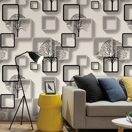 Roll White Paper Australia - White,Purple,Blue Modern 3d Wallpaper For Living room Bedroom TV Background Home Decoration Squares Pattern Wall Paper Roll