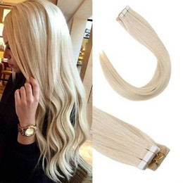 24 inch tape hair online shopping - PU Tape In Hair Extensions Seamless Skin Weft Human Hair Women Straight Fashion Style inches
