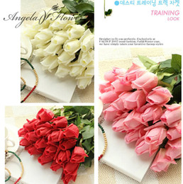 Fresh White Rose Flowers Australia - (11pcs  Lot )Fresh Rose Artificial Flowers Real Touch Rose Flowers Home Decorations For Wedding Party Or Birthday Free Shipping