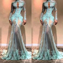 Wunderschöne Long Sleeves High Neck Mermaid Abendkleider Durchsichtig Spitze Formale Abendkleider Cutaway Side Celebrity Kleider im Angebot